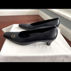 Ferragamo navy kitten heels with gold hardware